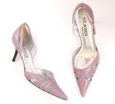 ST JOHN Italy Sz 9.5 Pointed-Toe D'Orsay Kitten Heel Pumps Shoes Leather Purple