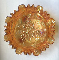 Imperial Lustre Rose Marigold 3-Toed Footed Ruffled Rim Carnival Glass Bowl 8""