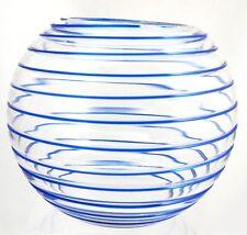 Bohemian - Round Threaded Glass Vase or Rose Bowl - Blue Threading