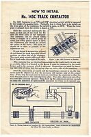 [55686] 1950 LIONEL TRAINS No. 145C TRACK CONTACTOR OPERATING INSTRUCTIONS