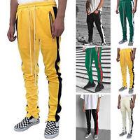 Men's Casual  Lace-up Stretchy Waist Trouser Zip Slacks Sport Pants Gym Joggers