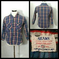 Sears Vintage Flannel Men's Medium Blue/Red Plaid Button Up Collared Inv#Z1605