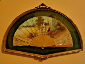 Antique Hand Fan Fabric Hand Painted Victorian Couple Wooden Box