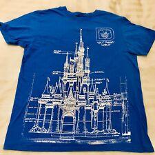 Disney Parks Walt World Cinderella Castle Blueprint Blue T-Shirt Size Large