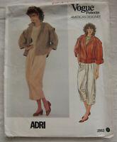 Vintage Jacket & Pants Sewing Pattern*Vogue 2953*Size 12*UNCUT/FF*ADRI*Retro 80s
