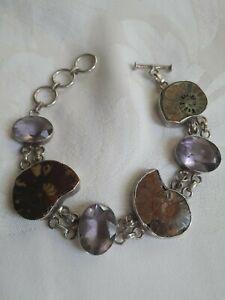Vintage Sterling Silver Toggle Bracelet, Ammonite Fossils, Amethyst?