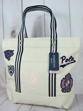 Ralph Lauren Polo Pink Pony Patches Canvas Tote Bag ~ NWT