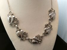 Stunning Vintage Sterling Silver Heavy Art Deco Scrolled Leafy Link Necklace