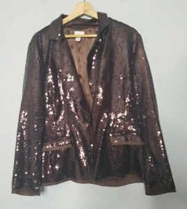 Chicos Womens Blazer Size 2 Large Sequin Jacket Top Long Sleeve