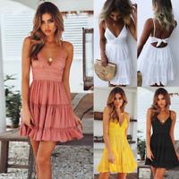 Womens Boho Strappy V Neck Lace Swing Mini Dress Floral Summer Beach Sundress
