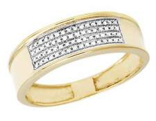 10K Yellow Gold Genuine Diamond 4 Row Men's Pave Wedding Band Ring 1/4 CT 12MM