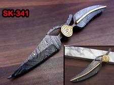 "8"" hand forged Damascus steel leaf folding pocket knife custom made"
