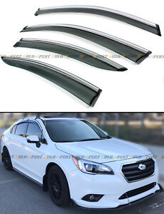 FOR 2015-19 SUBARU LEGACY SEDAN CLIP-ON SMOKE TINTED WINDOW VISOR W/ CHROME TRIM