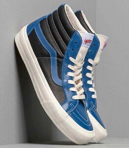 Vans OG Sk8-Hi Reissue Vl Leather Skate Shoes Size 9.5 True Blue/ Black