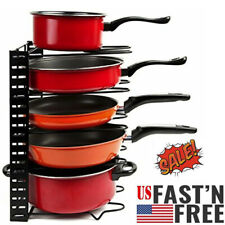 Height Adjustable Cookware Holders Pan Organizer Rack, And Pot Lid Black Metal