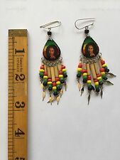Bob Marley Rasta Earrings Surgical Steal Ear Wire--Marley With Smoke