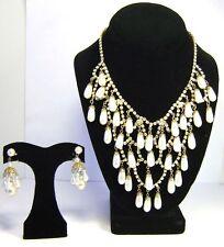 Rhinestones Faux Pearls Bib Necklace Earrings Set D & E Delizza & Elster Juliana