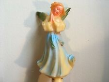 Vintage 1950's Christmas Hard Rubber Lighted Angel Tree Topper Blue Dress & Wing