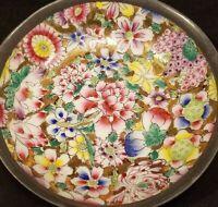 "Vintage China Porcelain Pewter 5"" Floral Dish Bowl CRDO Beautiful Handmade"