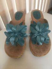 Born Blue Wedge Sandals Size 8