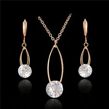 Simple Elegant Jewelry Set With Necklace Earrings 18K Gold Plated Fashion Jewel