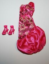 Barbie Doll Pink Evening Dress & Shoes