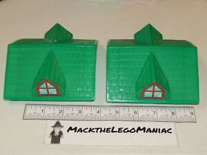 Lincoln Log Lot of 2 Green Plastic Roof Parts Only Logs