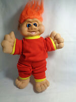 "Vintage 1991 I T B Troll Blue Eyes Orange Hair Red Outfit Plush Body 13""  - Rare"