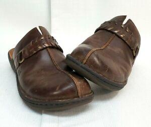 BOC Born Concept Brown Leather Clogs Mules Shoes F58117 Womens Size 9M Strap