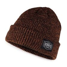 SCRUFFS Vintage BEANIE Hat Black Orange Work Knitted Winter Thinsulate Lined