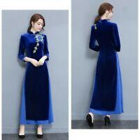 Retro Lady Floral Velvet Long Dress Chinese Mandarin Collar Cheongsam Qipao Slim