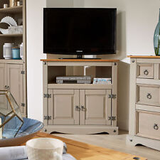 grey tv stand pine 2 door television cabinet corner unit corona solid wood - Entertainment Centres And Tv Stands