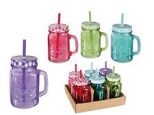 6er Set Trinkglas Trinkhalm Henkel Halm Trinkbecher Glas Becher 400ml BUNT