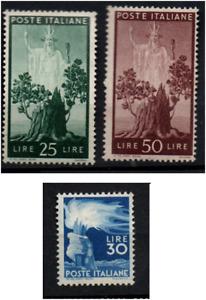 Repubblica 1949 Serie Democratica - 30 Lire Ruota + 25 Lire e 50 Lire Nuovi MNH