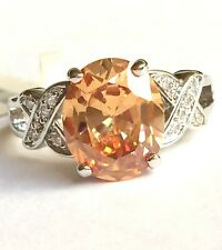 Silver Topaz Cocktail Ring Size 10 Peach Cubic Zirconia Simulated Plated ArtDeco