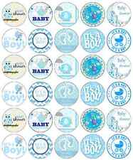 30x Baby Shower Boy Cupcake Toppers Edible Wafer Paper Fairy Cake Toppers