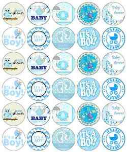 30 x Baby Shower Boy Cupcake Toppers Edible Wafer Paper Fairy Cake Toppers
