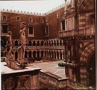 Venezia Palais Dei Doge Italia Foto Stereo PL59L16n Placca Vintage c1910