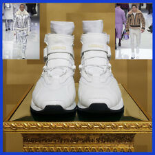 New Versace STRAP LACED HIGH-TOP SNEAKERS in WHITE 43.5 - 10.5