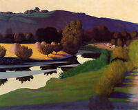 Oil painting Félix Vallotton - Evening on the Loire nice landscape with river
