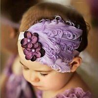 Infant Baby Rhinestone Flower Feather Headband Kids Headwear Hair Accessories