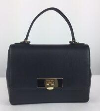 $278 MICHAEL KORS Callie Black Leather Medium TH Satchel Shoulder Bag Purse