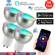 4 PACKS GU10 Smart Bulb App Remote Control RGB 5W WiFi Light For Alexa Google UK