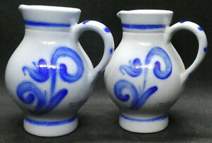 Two Grey and Blue Stoneware Pitchers Presented by City of Frankfurt Germany