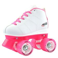 Rocket Roller Skates for Girls   Kids Quad Speed Rollerskates   White / Pink