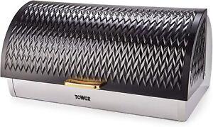 Tower T826090BLK Empire Bread Bin, Stainless Steel, Art Deco Design, Black