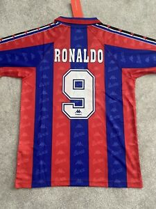 Retro Barcelona Home Shirt - 1996/97 - Ronaldo 9 - Kappa - Large