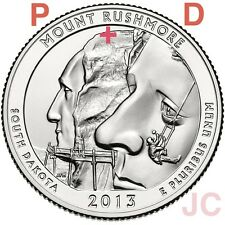2013 P&D Mount Rushmore National Memorial STATE PARK QUARTER SET BU SD Mt.