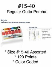 Gutta Percha Points Endodontic  #15-40 Regular Assorted 120 Color Coded Points