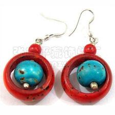 Tibetan Turquoise Red Coral Yak Bone Imitation Beaded Dangle Amulet Earrings
